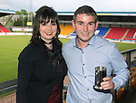 St Johnstone FC Player of the Year Awards...18.05.14<br /> Muirton Sweeties Cult Hero Award to Jordan Thomson presented by Beve Mayer<br /> Picture by Graeme Hart.<br /> Copyright Perthshire Picture Agency<br /> Tel: 01738 623350  Mobile: 07990 594431
