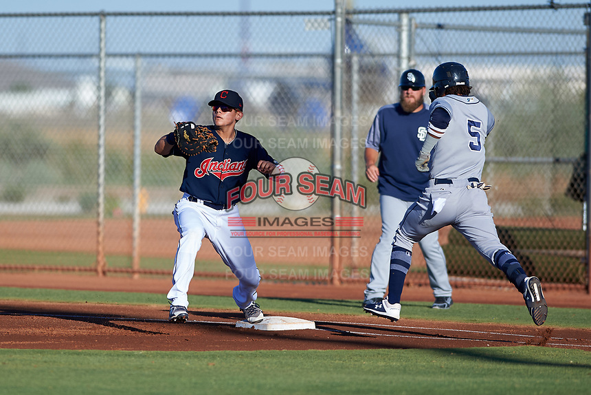 AZL Indians Red first baseman Joe Naranjo (24) prepares to catch a throw ahead of Yordi Francisco (5) during an Arizona League game against the AZL Padres 1 on June 23, 2019 at the Cleveland Indians Training Complex in Goodyear, Arizona. AZL Indians Red defeated the AZL Padres 1 3-2. (Zachary Lucy/Four Seam Images)