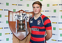 SCHOOLS CUP DRAW 2016 | Monday 16th November 2015<br /> <br /> Ballymena Academy captain Marcus Rea - Ulster Schools Cup draw at Kingspan Stadium, Ravenhill Park, Belfast, Northern Ireland.<br /> <br /> Photo credit: John Dickson / DICKSONDIGITAL