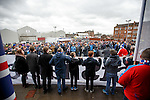 Rangers supporters protesting outside the Sports Direct Rangers Megastore