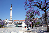 LISBON, PORTUGAL - MAY 18 :  A general view of Rossio Square  in Lisbon, on May 18, 2020. <br /> Restaurants, museums and coffee shops reopen at reduced capacity, while Lisbon eases lockdown coronavirus disease (COVID-19) outbreak.<br /> (Photo by Luis Boza/VIEWpress via Getty Images)