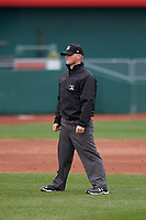 Umpire Lance Seilhamer during a Midwest League game between the Wisconsin Timber Rattlers and Lansing Lugnuts at Cooley Law School Stadium on May 1, 2019 in Lansing, Michigan. Wisconsin defeated Lansing 8-3 after the game was suspended from the previous night. (Zachary Lucy/Four Seam Images)