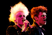 Montreal (Qc) CANADA - 1987- Thompson Twins<br /> <br /> -Photo (c)  Images Distribution<br /> <br /> Thompson Twins, circas 1987<br /> <br />  - PHOTO D'ARCHIVE :  Agence Quebec Presse
