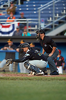 West Virginia Black Bears catcher Deon Stafford (57) and umpire Scott Molloy await the pitch during a game against the Batavia Muckdogs on June 26, 2017 at Dwyer Stadium in Batavia, New York.  Batavia defeated West Virginia 1-0 in ten innings.  (Mike Janes/Four Seam Images)