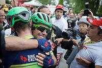 Michael Matthews (AUS/Orica-BikeExchange) wins<br /> stage 10 of the 2016 Tour de France & hugs teammate Luke Durbridge (AUS/Orica-BikeExchange) after finishing