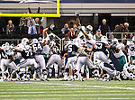 Dallas Cowboys kicker Dan Bailey (5), Dallas Cowboys guard Montrae Holland (64) and Dallas Cowboys guard Kyle Kosier (63) in action during the Thanksgiving Day game between the Miami Dolphins and the Dallas Cowboys at the Cowboys Stadium in Arlington, Texas. Dallas defeats Miami 20 to 19...