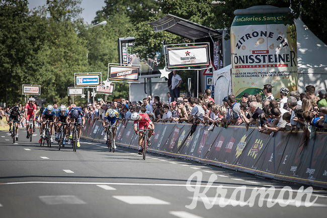 Nacer Bouhanni (FRA/Cofidis) dominates the bunch sprint and takes the victory in the GP Marcel Kint 2018 <br /> <br /> Kortrijk > Zwevegem 174.8km (BELGIUM)