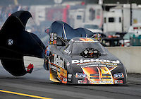 Sept. 30, 2011; Mohnton, PA, USA: NHRA funny car driver Matt Hagan during qualifying for the Auto Plus Nationals at Maple Grove Raceway. Mandatory Credit: Mark J. Rebilas-