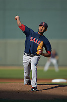 Salem Red Sox starting pitcher Roniel Raudes (17) in action against the Winston-Salem Dash at BB&T Ballpark on April 21, 2018 in Winston-Salem, North Carolina.  The Dash walked-off the Red Sox 4-3.  (Brian Westerholt/Four Seam Images)