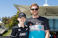 23rd March 2021; Christchurch, New Zealand;  Reuben McKeown(coin toss kid) with Lockie Ferguson during the 2nd ODI cricket match, Black Caps versus Bangladesh, Hagley Oval, Christchurch, New Zealand.