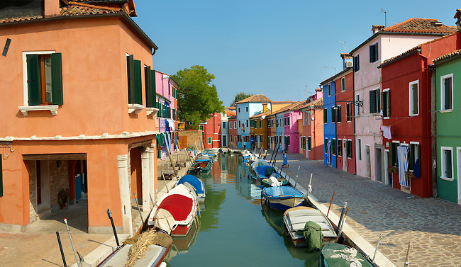 Streets and canals of Burano island - Venice - Italy The traditional colourful houses of Burano Island, Venice Lagoon, Italy