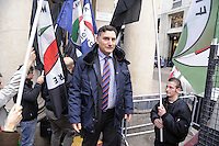"""- Milan, demonstration of the neonazi group """"Fiamma Tricolore"""", Luca Romagnoli, National Secretary<br /> <br /> - Milano, manifestazione del gruppo neonazista """"Fiamma Tricolore"""", Luca Romagnoli, segretario nazionale"""