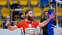 American Mitchell Stahl of Maaseik  pictured during a Volleyball game between Knack Volley Roeselare and Greenyard Maaseik , the third game in a best of five in the play offs in the 2020-2021 season , saturday 10 th April 2020 at the Schiervelde international Sportshall in Roeselare  , Belgium  .  PHOTO SPORTPIX.BE   DAVID CATRY