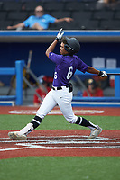 Julio Rivera (6) of South View High School in Fayetteville, NC during the Atlantic Coast Prospect Showcase hosted by Perfect Game at Truist Point on August 22, 2020 in High Point, NC. (Brian Westerholt/Four Seam Images)