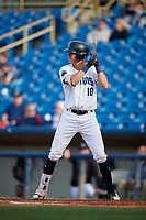 Lake County Captains third baseman Nolan Jones (10) at bat during the first game of a doubleheader against the South Bend Cubs on May 16, 2018 at Classic Park in Eastlake, Ohio.  South Bend defeated Lake County 6-4 in twelve innings.  (Mike Janes/Four Seam Images)
