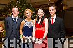 Ryan O'Connor, Ellen O'Mahony, Eva O'Connell, Timmy Walsh enjoying the Castlegregory Secondary School Debs at the Brandon Hotel on Saturday