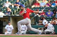 Buffalo Bisons catcher A.J. Jimenez (41) at bat in front of catcher Dan Rohlfing (16) during the second game of a doubleheader against the Rochester Red Wings on July 6, 2014 at Frontier Field in Rochester, New  York.  Rochester defeated Buffalo 6-1.  (Mike Janes/Four Seam Images)