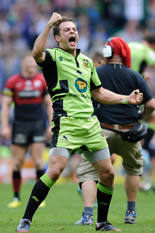 Stephen Myler of Northampton Saints celebrates as the TMO awards a late try to win the Aviva Premiership Rugby Final to Northampton Saints during the Aviva Premiership Final between Saracens and Northampton Saints at Twickenham Stadium on Saturday 31st May 2014 (Photo by Rob Munro)