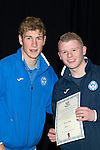 St Johnstone FC Youth Academy Presentation Night at Perth Concert Hall..21.04.14<br /> David Wotherspoon presents to Marc Gow<br /> Picture by Graeme Hart.<br /> Copyright Perthshire Picture Agency<br /> Tel: 01738 623350  Mobile: 07990 594431