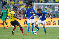 Action photo during the match Brazil vs Ecuador, Corresponding Group -B- America Cup Centenary 2016, at Rose Bowl Stadium<br /> <br /> Foto de accion durante el partido Brasil vs Ecuador, Correspondiante al Grupo -B-  de la Copa America Centenario USA 2016 en el Estadio Rose Bowl, en la foto: (-d) Enner Valencia de Ecuador, Gil y  Renato Augusto de Brasil<br /> <br /> <br /> 04/06/2016/MEXSPORT/Victor Posadas.