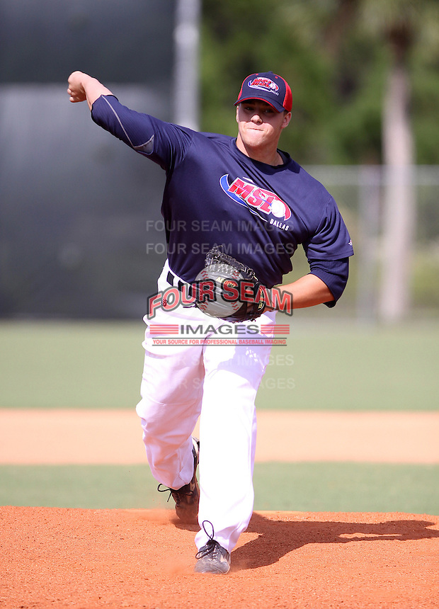 Jake Thompson during the World Wood Bat Association Championships at Roger Dean Sports Complex on October 22, 2011 in Jupiter, Florida.  (Stacy Grant/Four Seam Images)