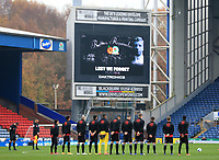 7th November 2020; Ewood Park, Blackburn, Lancashire, England; English Football League Championship Football, Blackburn Rovers versus Queens Park Rangers; the Queens Park Rangers players Blackburn players observe a minute's silence as part of the Remembrance Day commemorations