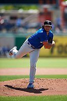 Rancho Cucamonga Quakes starting pitcher Chris Mathewson (27) follows through on his delivery during a California League game against the Stockton Ports at Banner Island Ballpark on May 17, 2018 in Stockton, California. Stockton defeated Rancho Cucamonga 2-1. (Zachary Lucy/Four Seam Images)