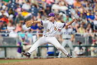 LSU Tigers pitcher Hunter Devall (11) delivers a pitch to the plate against the TCU Horned Frogs in the NCAA College World Series on June 14, 2015 at TD Ameritrade Park in Omaha, Nebraska. TCU defeated LSU 10-3. (Andrew Woolley/Four Seam Images)