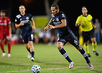 LAKE BUENA VISTA, FL - JULY 26: Alexander Callens of New York City FC dribbles the ball during a game between New York City FC and Toronto FC at ESPN Wide World of Sports on July 26, 2020 in Lake Buena Vista, Florida.