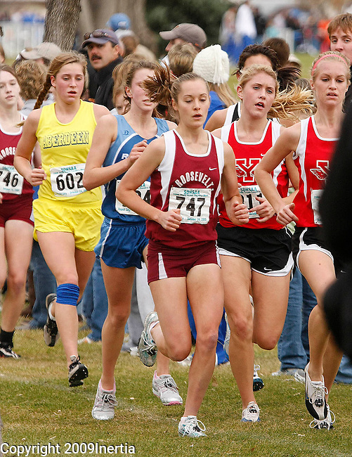 RAPID CITY, SD -- OCTOBER 24, 2009 -- Seanna Kautz #747 of Sioux Falls ROosevelt runs with a group in the class AA girls event at the 2009 South Dakota State High School Cross Country Meet Saturday in Rapid City. (Photo by Dick Carlson/Inertia)