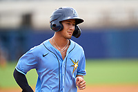 FCL Rays Shane Sasaki (37) rounds the bases on a Esteban Quiroz (not shown) home run during a game against the FCL Pirates Black on August 3, 2021 at Charlotte Sports Park in Port Charlotte, Florida.  (Mike Janes/Four Seam Images)
