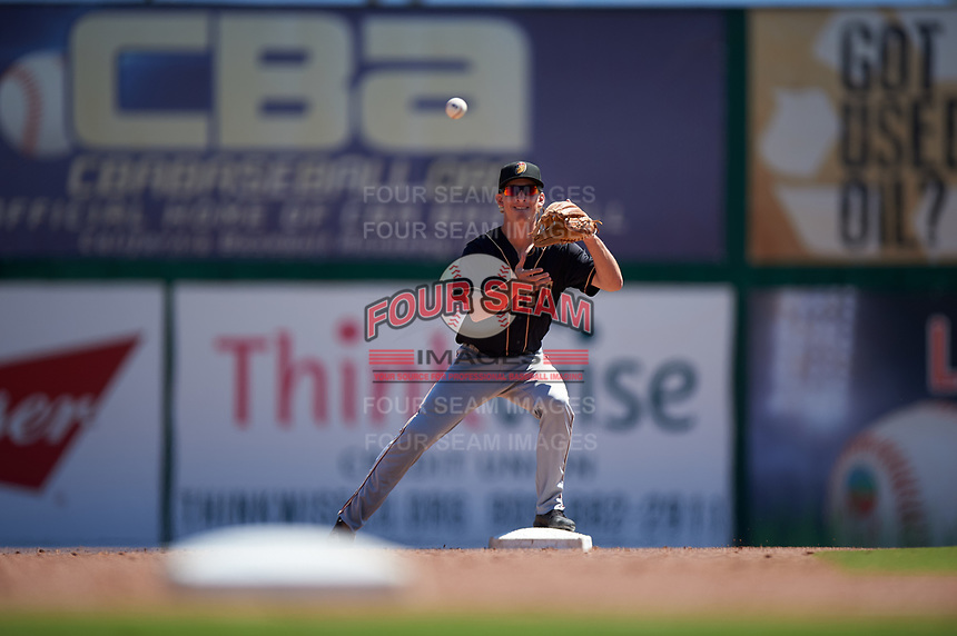 Modesto Nuts second baseman Connor Kopach (7) during a California League game against the Inland Empire 66ers on April 10, 2019 at San Manuel Stadium in San Bernardino, California. Inland Empire defeated Modesto 5-4 in 13 innings. (Zachary Lucy/Four Seam Images)