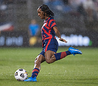 EAST HARTFORD, CT - JULY 1: Crystal Dunn #2 of the USWNT passes the ball during a game between Mexico and USWNT at Rentschler Field on July 1, 2021 in East Hartford, Connecticut.