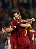 Calcio, Serie A: AS Roma - Torino Roma, stadio Olimpico, 9 marzo, 2018.<br /> Roma's Lorenzo Pellegrini (r) celebrates after scoring with his teammate Alessandro Florenzi (l) during the Italian Serie A football match between AS Roma and Torino at Rome's Olympic stadium, 9 marzo, 2018.<br /> UPDATE IMAGES PRESS/Isabella Bonotto