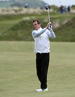 27 May 2015;  A.P. McCoy plays into the 8th green<br /> <br /> Dubai Duty Free Irish Open Golf Championship 2015, Pro-Am. Royal County Down Golf Club, Co. Down. Picture credit: John Dickson / DICKSONDIGITAL