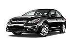 Stock pictures of low aggressive front three quarter view of a 2015 Subaru Impreza premium 4 Door Sedan