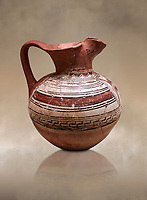 Phrygian terracotta trefoil jug decorated with geometric designs. 8th-7th century BC . Çorum Archaeological Museum, Corum, Turkey