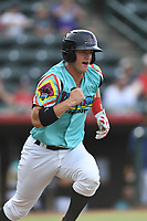 Josh Jung (15) of Las Llamas de Hickory in action during a game against Los Rapidos de Kannapolis at L.P. Frans Stadium on July 17, 2019 in Hickory, North Carolina. The Llamas defeated the Rapidos 7-5. (Tracy Proffitt/Four Seam Images)