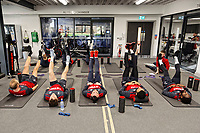 (L-R) Mike van der Hoorn, Daniel James, Leon Britton, Kyle Bartley and Nathan Dyer exercise in the gym during the Swansea City Training at The Fairwood Training Ground, near Swansea, Wales, UK. Friday 19 January 2018