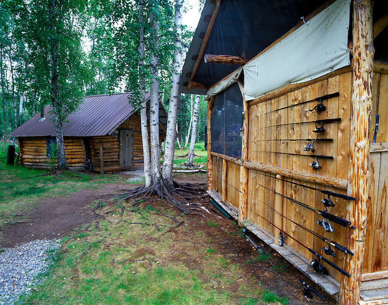 Cabin with rods at Lake George, Alaska