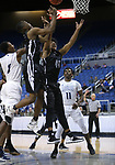 Desert Pines' Dayshawn Wiley, left, and Darius Mitchell and Cheyenne's Kavon Williams and Michael Reed rebound in the NIAA 3A state basketball championship game in Reno, Nev., on Saturday, Feb. 24, 2018. Cathleen Allison/Las Vegas Review-Journal