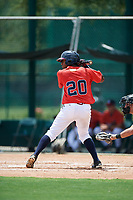 GCL Braves third baseman Braulio Vasquez (20) at bat during a game against the GCL Pirates on July 27, 2017 at ESPN Wide World of Sports Complex in Kissimmee, Florida.  GCL Braves defeated the GCL Pirates 8-6.  (Mike Janes/Four Seam Images)