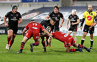 Sunday 22nd November 2020 | Ulster vs Scarlets<br /> <br /> Ian Madigan is tackled by Daf Hughes and Phil Price during the Guinness PRO14 Round 7 clash between Ulster Rugby and Scarlets at Kingspan Stadium, Ravenhill Park, Belfast, Northern Ireland. Photo by John Dickson / Dicksondigital