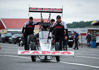 Sep 13, 2019; Mohnton, PA, USA; Crew members for NHRA top fuel driver Billy Torrence during qualifying for the Keystone Nationals at Maple Grove Raceway. Mandatory Credit: Mark J. Rebilas-USA TODAY Sports