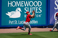 St. Louis Cardinals outfielder Tyler O'Neill (27) catches a fly ball during a Major League Spring Training game against the New York Mets on March 19, 2021 at Clover Park in St. Lucie, Florida.  (Mike Janes/Four Seam Images)