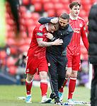 Derek McInnes celebrates the winning goal with Johnny Hayes