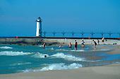 Manistee North Pierhead Lighthouse, Manistee, Michigan, Lake Michigan,