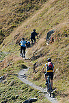 Schweiz, Graubuenden, Klosters: Mountainbiker unterhalb des Gotschnagrats, dem Hausberg Klosters | Switzerland, Graubuenden, Klosters: mountainbiker at Gotschna mountain