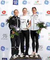 Photo: Richard Lane/Richard Lane Photography. GE Parc Bryn Bach Triathlon. 19/09/2010. (lt to rt) Jacqui Slack (2nd), Jodie Stimpson (1st), Helen Jenkins (3rd) in the 2010 Elite Women's Super Series.