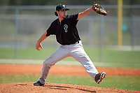 Plymouth State Panthers relief pitcher Dylan Gaita (28) delivers a pitch during the second game of a doubleheader against the Edgewood Eagles on March 17, 2016 at Lee County Player Development Complex in Fort Myers, Florida.  Plymouth State defeated Edgewood 16-3.  (Mike Janes/Four Seam Images)